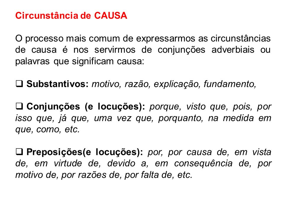 Circunstância de CAUSA