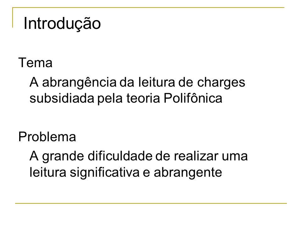 Introdução Tema. A abrangência da leitura de charges subsidiada pela teoria Polifônica. Problema.