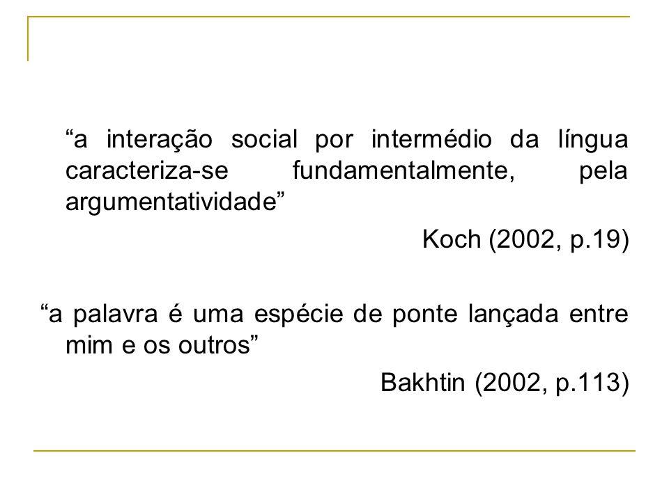 a interação social por intermédio da língua caracteriza-se fundamentalmente, pela argumentatividade