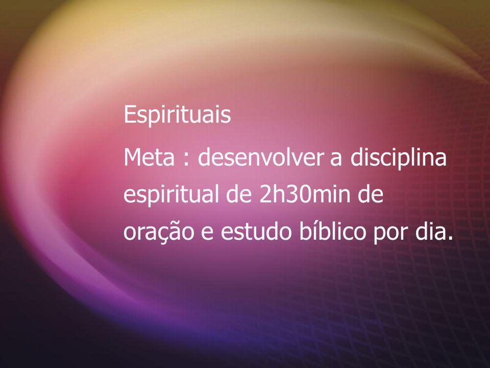 EspirituaisMeta : desenvolver a disciplina espiritual de 2h30min de oração e estudo bíblico por dia.