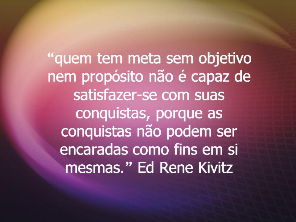 quem tem meta sem objetivo nem propósito não é capaz de satisfazer-se com suas conquistas, porque as conquistas não podem ser encaradas como fins em si mesmas. Ed Rene Kivitz