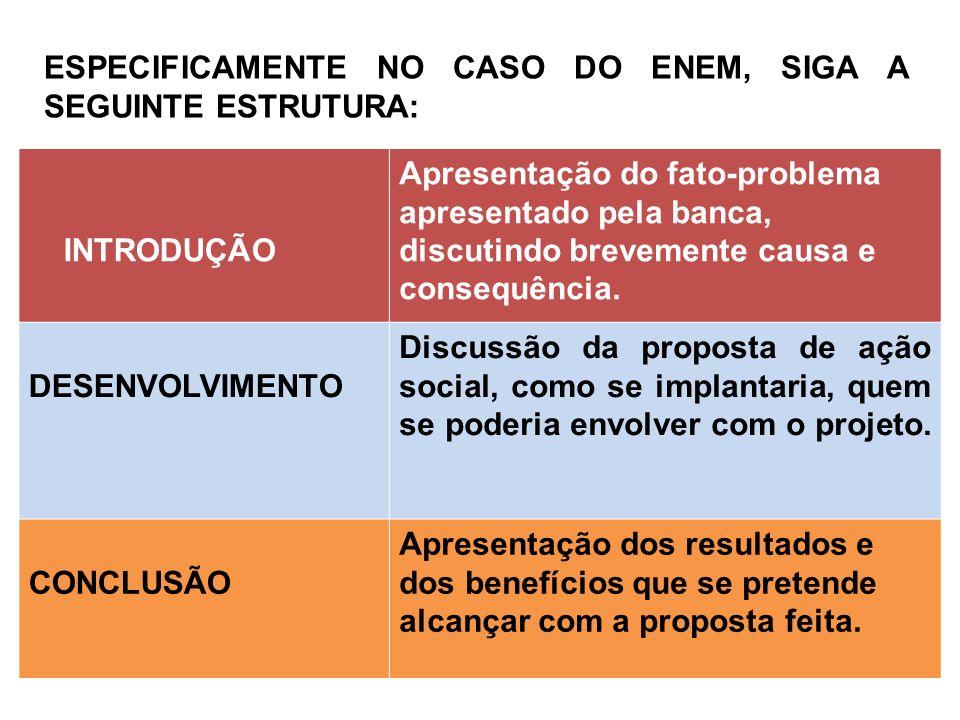 ESPECIFICAMENTE NO CASO DO ENEM, SIGA A SEGUINTE ESTRUTURA: