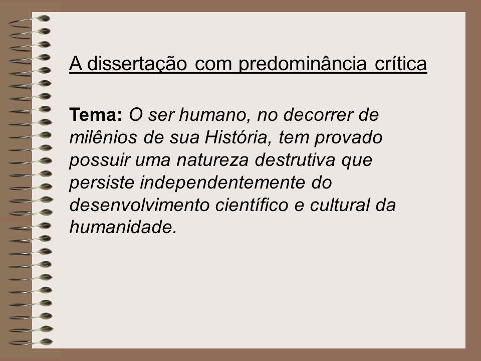 A dissertação com predominância crítica