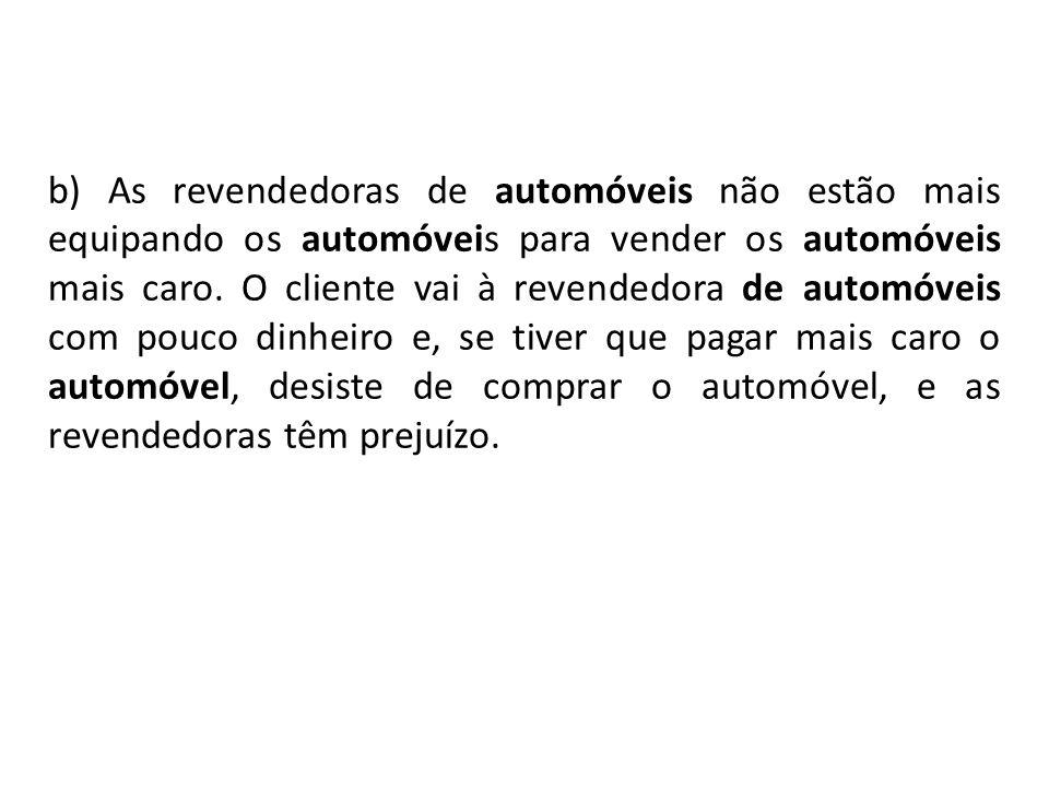 b) As revendedoras de automóveis não estão mais equipando os automóveis para vender os automóveis mais caro.