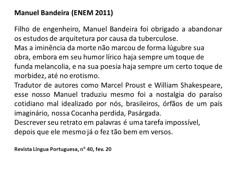 Manuel Bandeira (ENEM 2011)