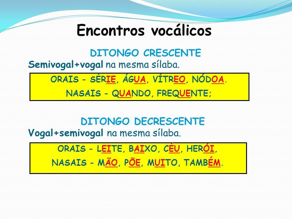 Encontros vocálicos DITONGO CRESCENTE Semivogal+vogal na mesma sílaba.