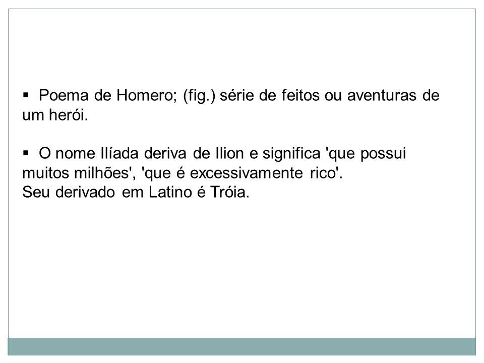 Poema de Homero; (fig.) série de feitos ou aventuras de um herói.