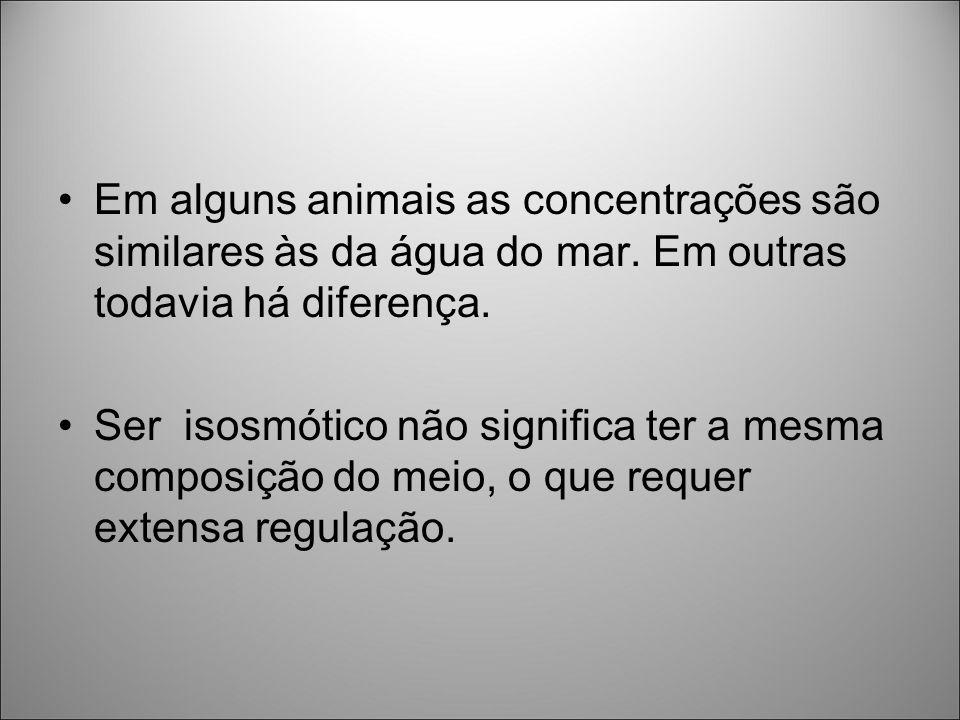 Em alguns animais as concentrações são similares às da água do mar