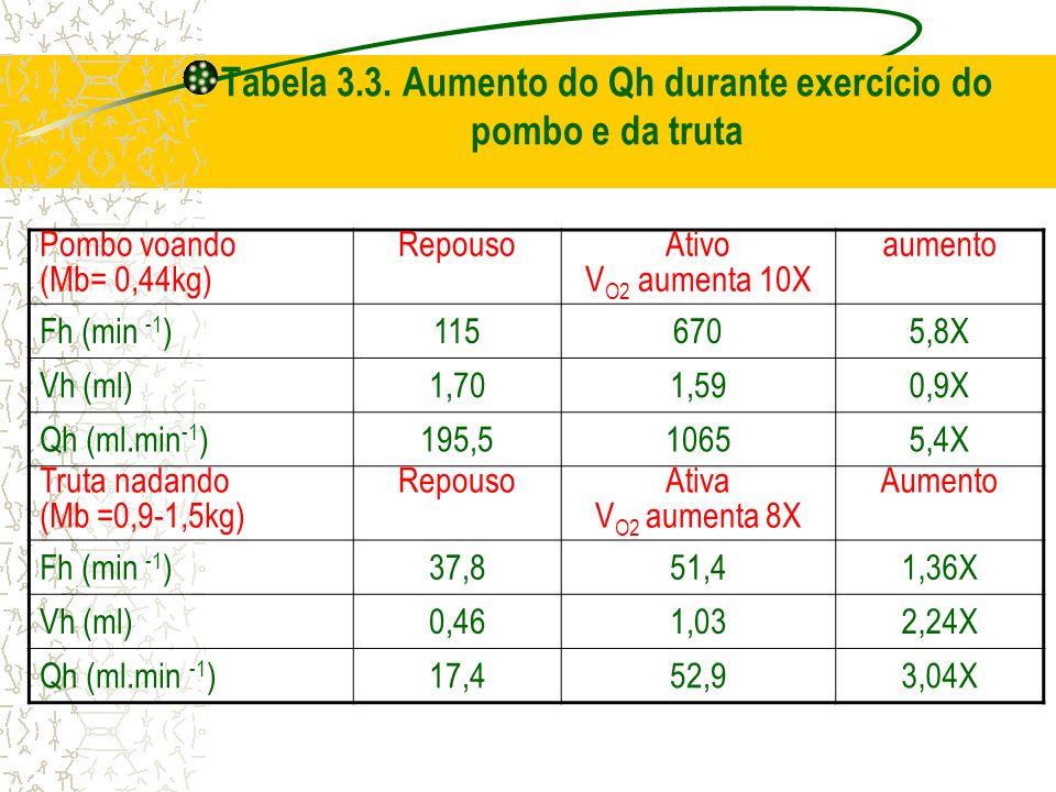 Tabela 3.3. Aumento do Qh durante exercício do pombo e da truta