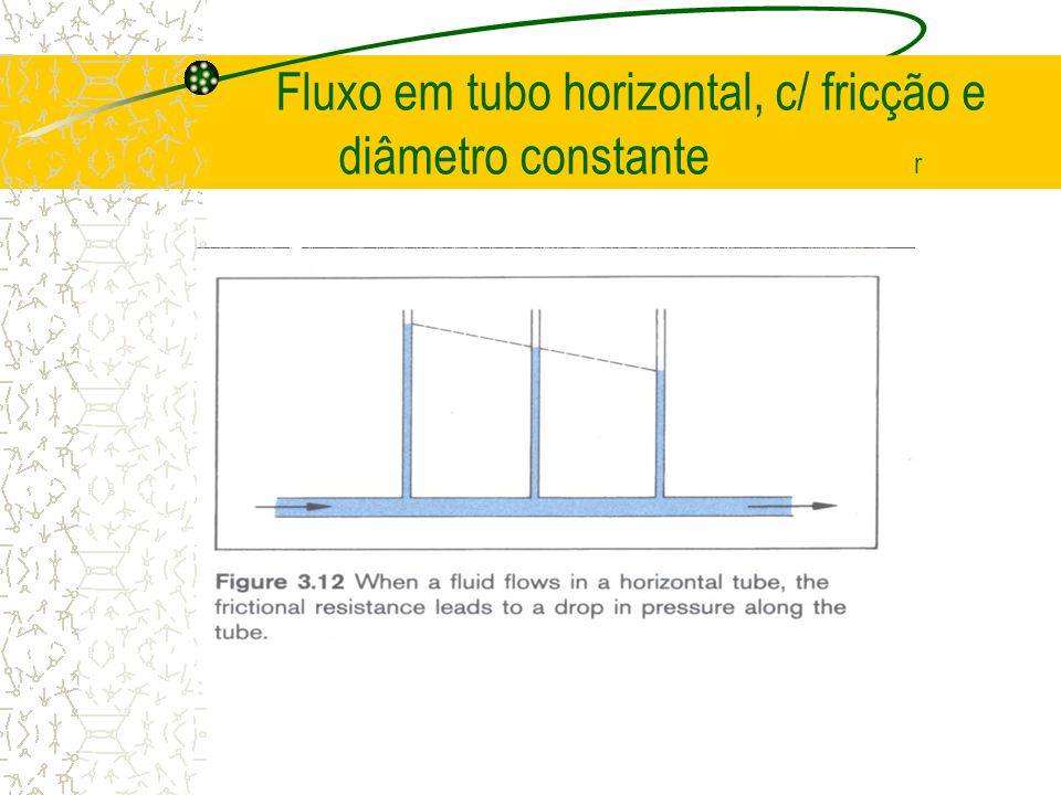 Fluxo em tubo horizontal, c/ fricção e diâmetro constante r