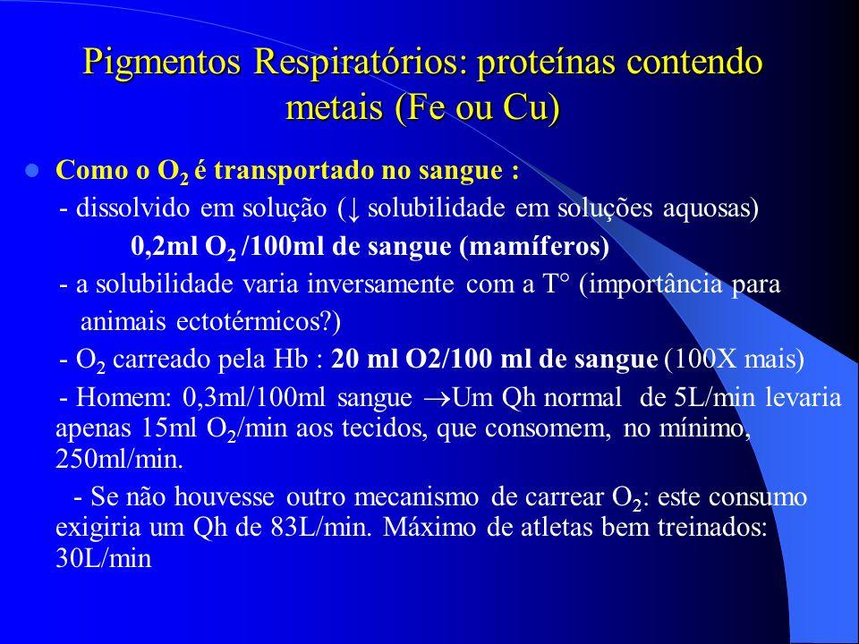 Pigmentos Respiratórios: proteínas contendo metais (Fe ou Cu)