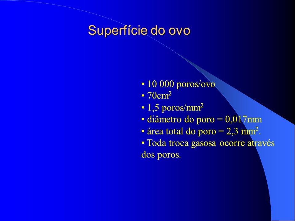 Superfície do ovo 10 000 poros/ovo 70cm2 1,5 poros/mm2