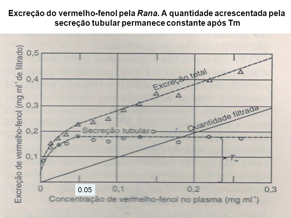 Excreção do vermelho-fenol pela Rana. A quantidade acrescentada pela