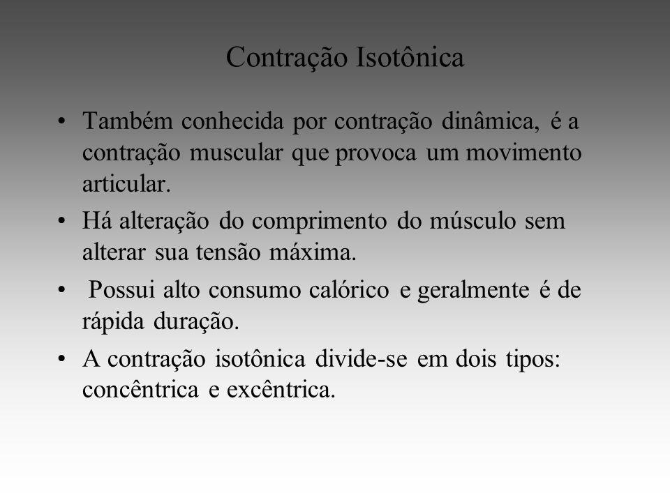 Contração Isotônica Também conhecida por contração dinâmica, é a contração muscular que provoca um movimento articular.
