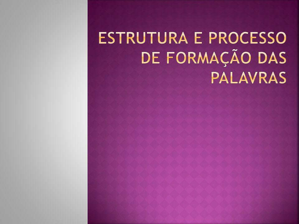 ESTRUTURA E PROCESSO DE FORMAÇÃO DAS PALAVRAS