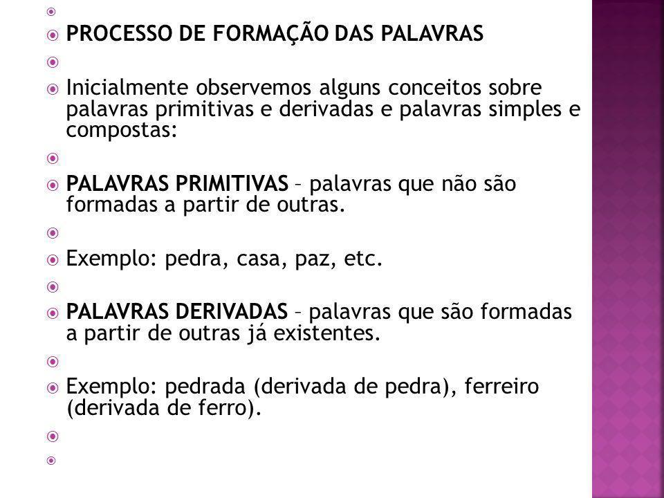 PROCESSO DE FORMAÇÃO DAS PALAVRAS