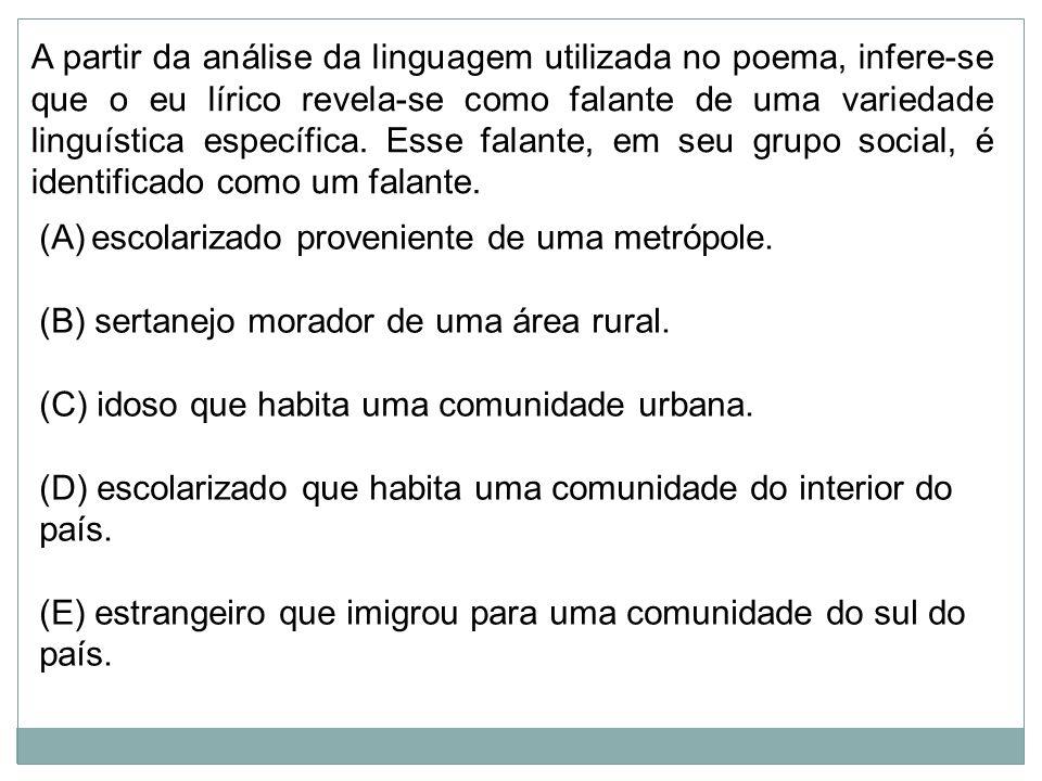 A partir da análise da linguagem utilizada no poema, infere-se que o eu lírico revela-se como falante de uma variedade linguística específica. Esse falante, em seu grupo social, é identificado como um falante.
