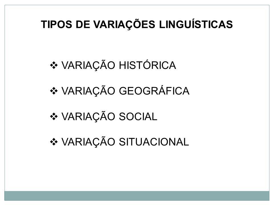 TIPOS DE VARIAÇÕES LINGUÍSTICAS