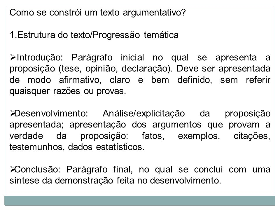 Como se constrói um texto argumentativo
