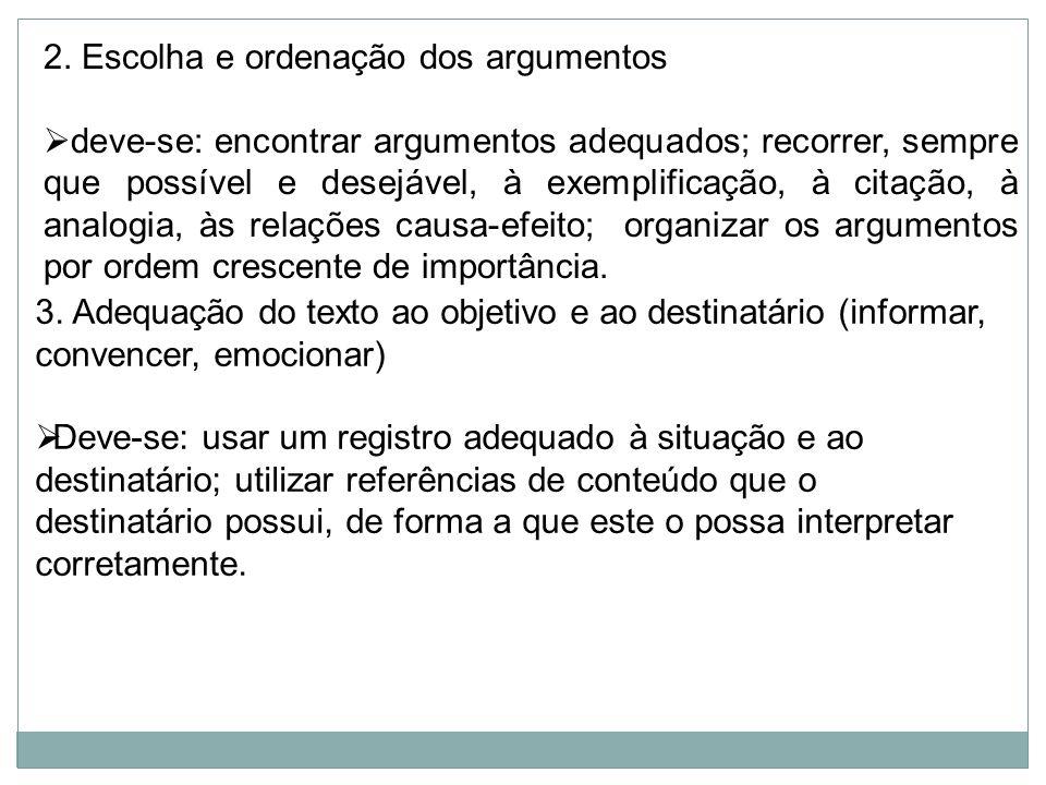 2. Escolha e ordenação dos argumentos