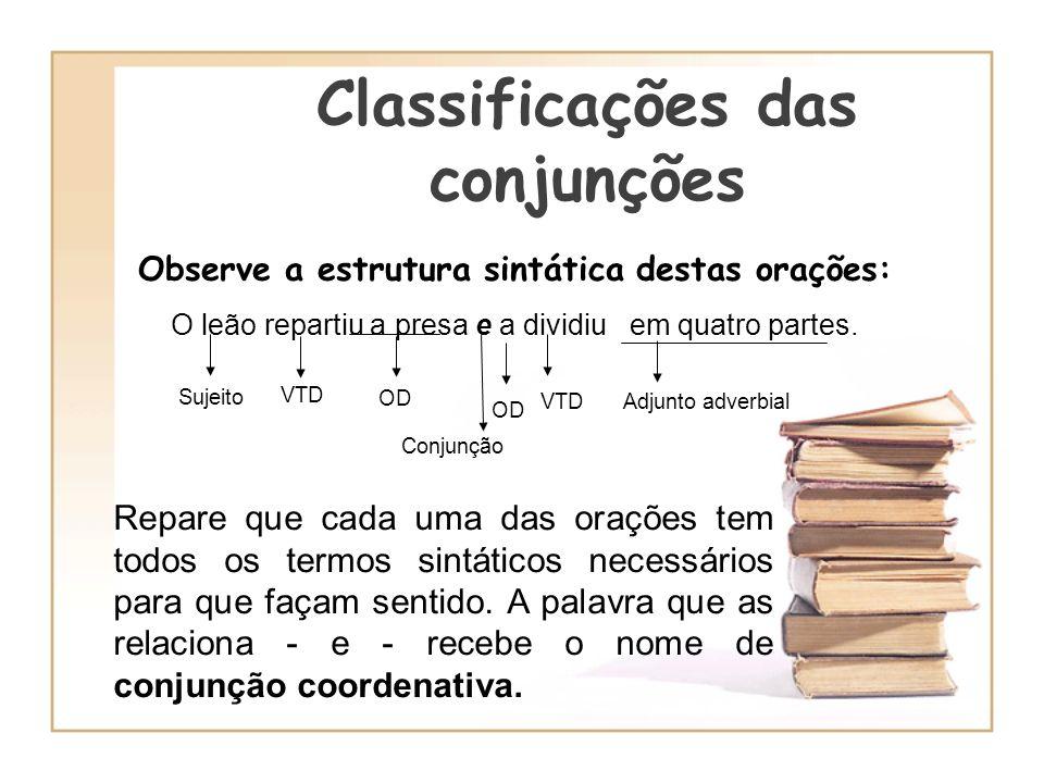 Classificações das conjunções