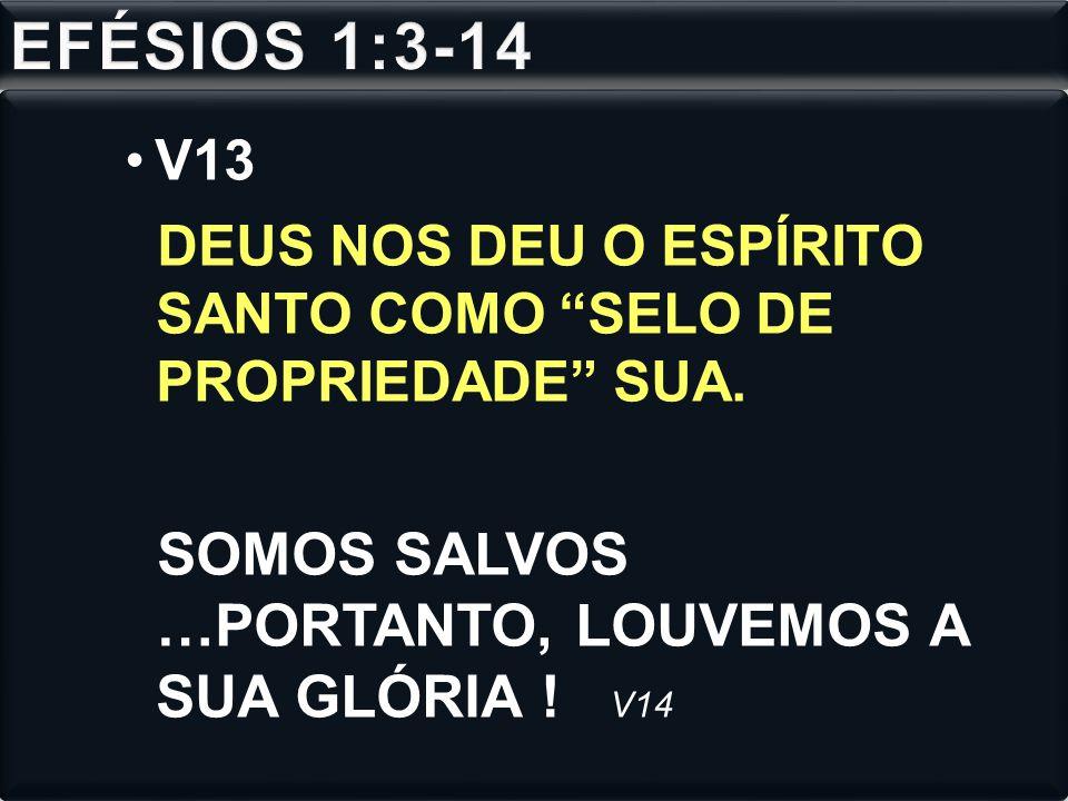 EFÉSIOS 1:3-14 SOMOS SALVOS …PORTANTO, LOUVEMOS A SUA GLÓRIA ! V14 V13