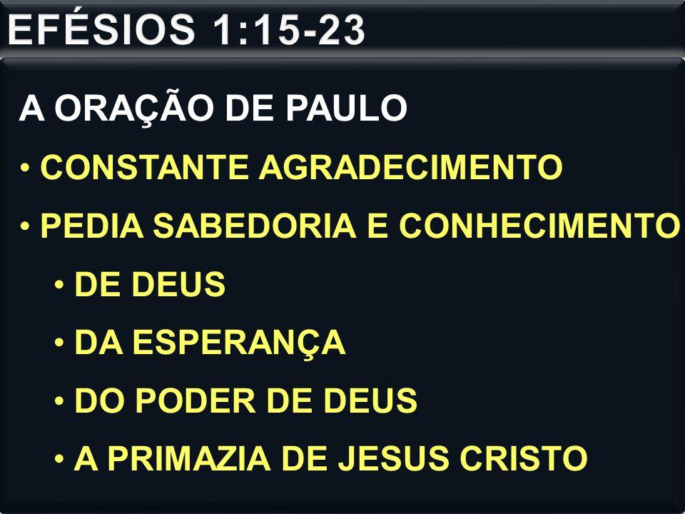 EFÉSIOS 1:15-23 A ORAÇÃO DE PAULO CONSTANTE AGRADECIMENTO