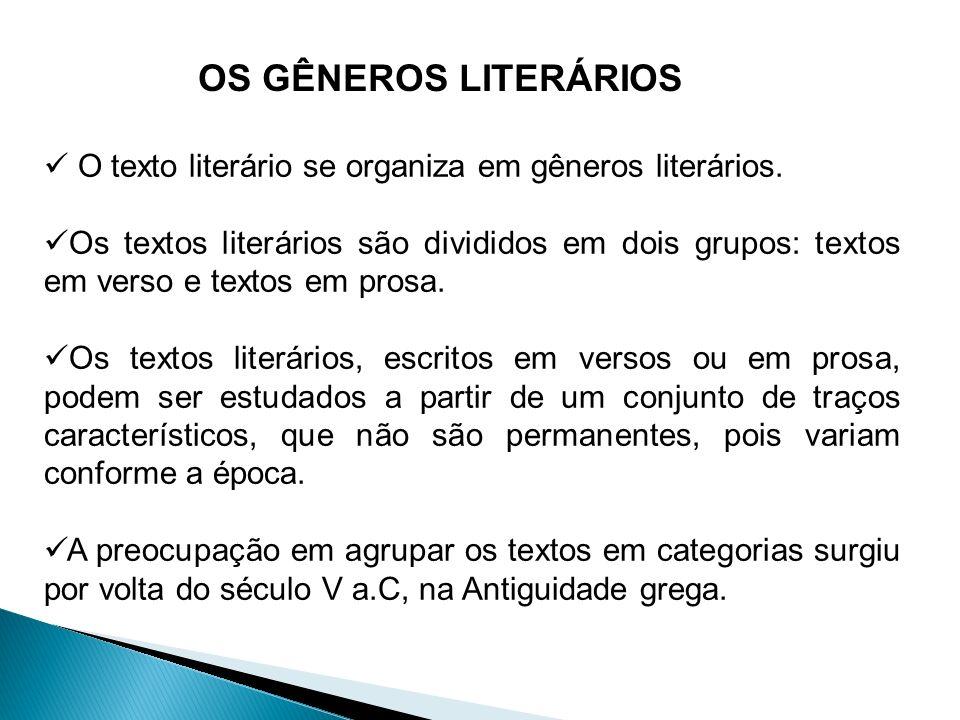 OS GÊNEROS LITERÁRIOS O texto literário se organiza em gêneros literários.