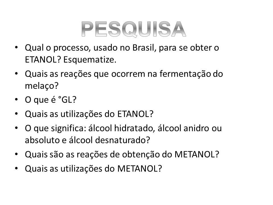 PESQUISA Qual o processo, usado no Brasil, para se obter o ETANOL Esquematize. Quais as reações que ocorrem na fermentação do melaço