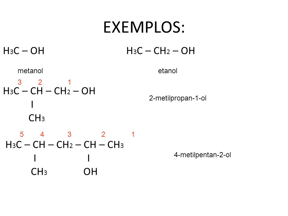 EXEMPLOS: H3C – OH H3C – CH2 – OH H3C – CH – CH2 – OH I CH3