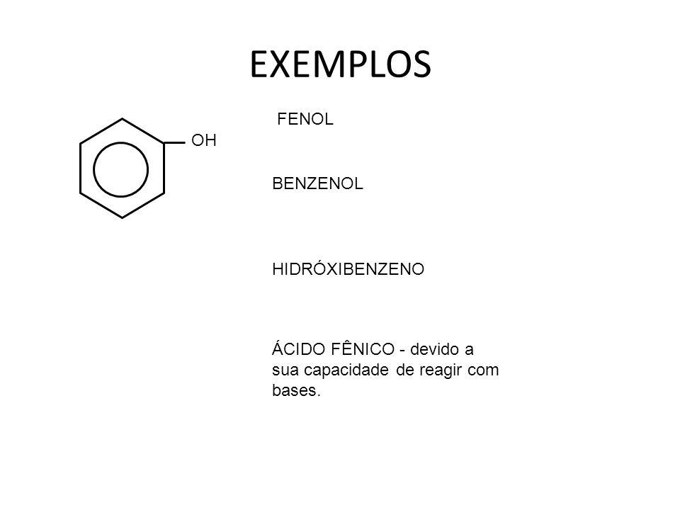 EXEMPLOS FENOL OH BENZENOL HIDRÓXIBENZENO