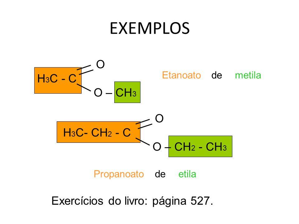 EXEMPLOS O H3C - C O – CH3 O H3C- CH2 - C O – CH2 - CH3