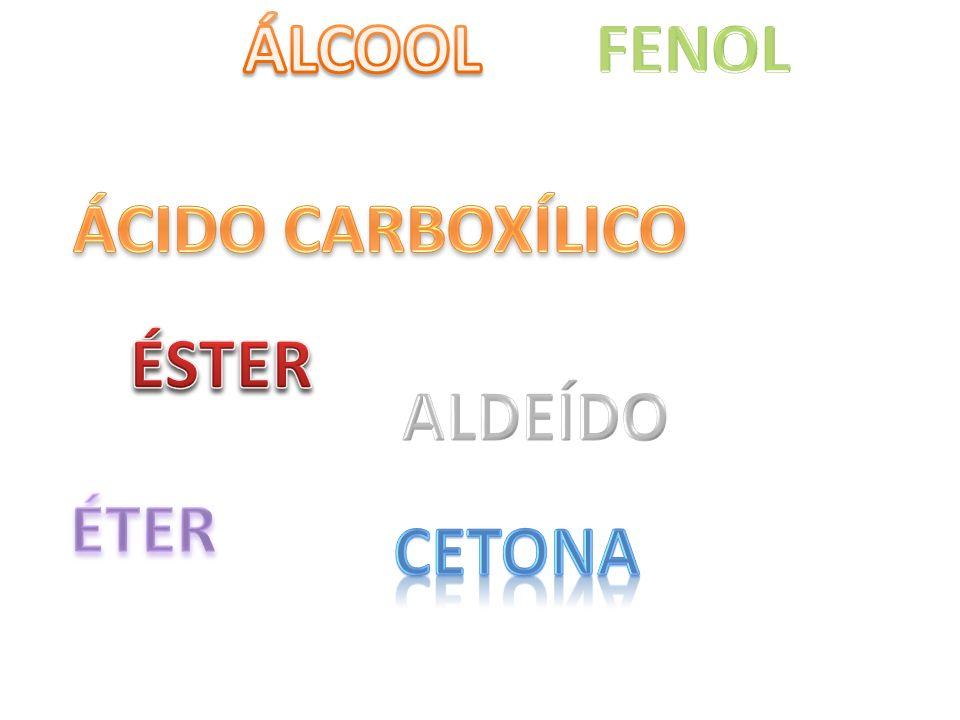 ÁLCOOL FENOL ÁCIDO CARBOXÍLICO ÉSTER ALDEÍDO ÉTER CETONA