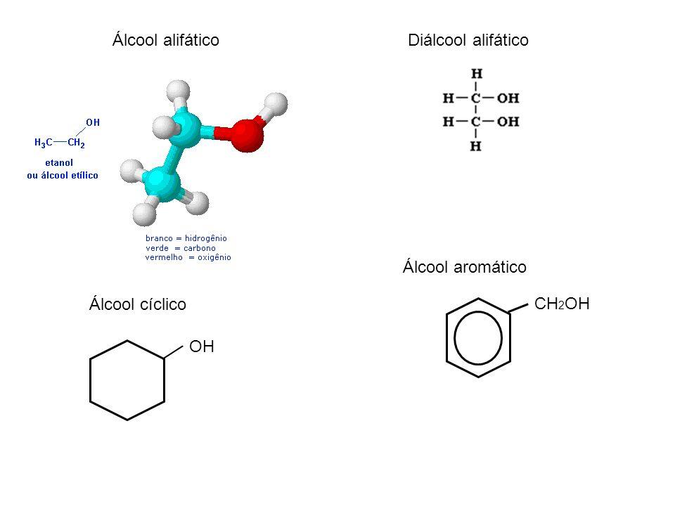 Álcool alifático Diálcool alifático Álcool aromático Álcool cíclico CH2OH OH
