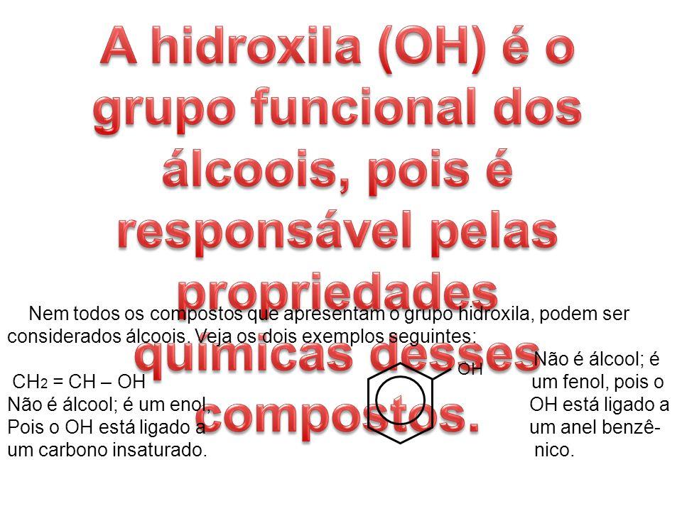 A hidroxila (OH) é o grupo funcional dos álcoois, pois é responsável pelas propriedades químicas desses compostos.