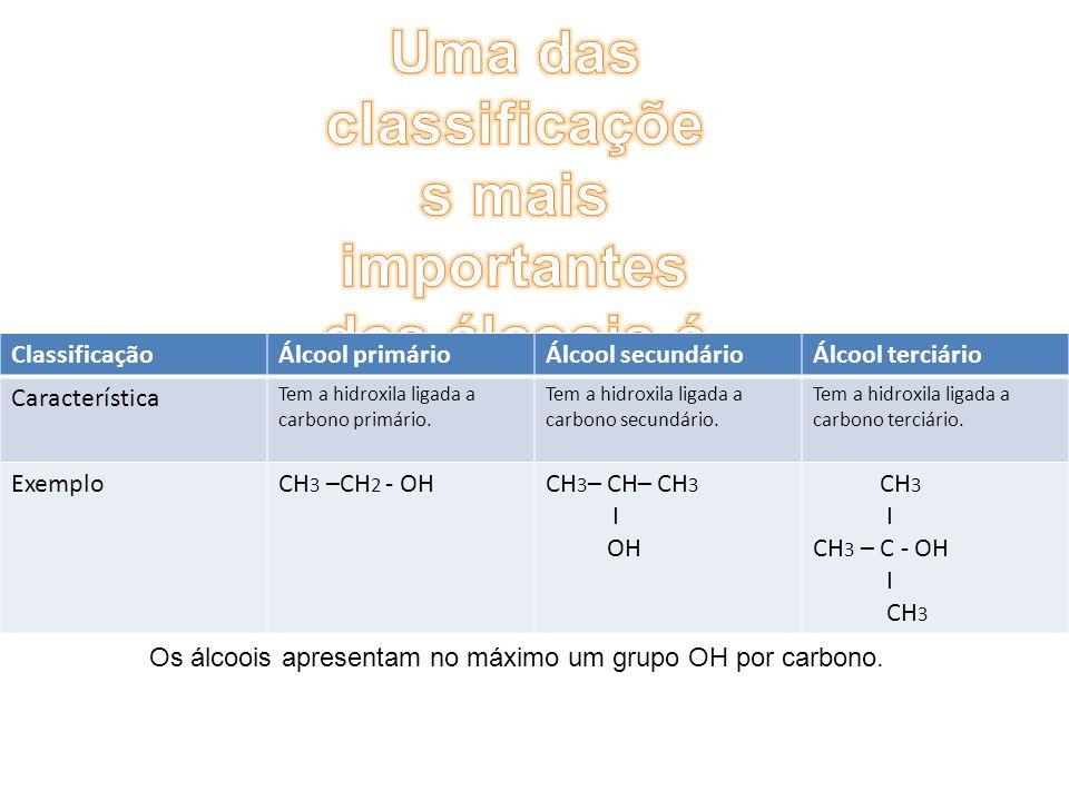 Uma das classificações mais importantes dos álcoois é a que divide em: