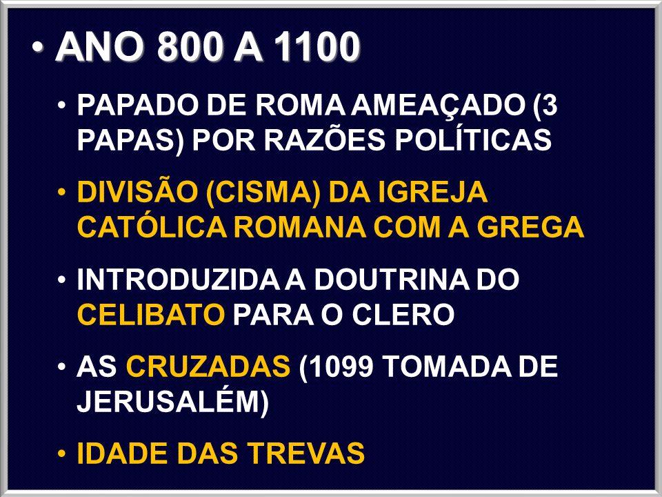 ANO 800 A 1100 PAPADO DE ROMA AMEAÇADO (3 PAPAS) POR RAZÕES POLÍTICAS