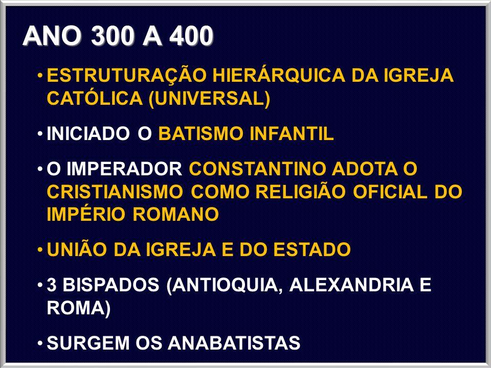 ANO 300 A 400 ESTRUTURAÇÃO HIERÁRQUICA DA IGREJA CATÓLICA (UNIVERSAL)