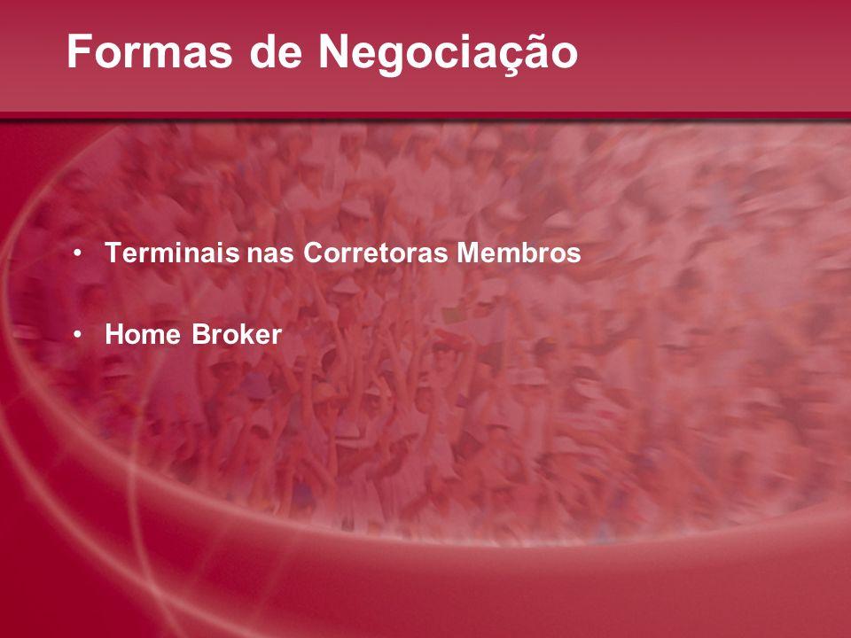 Formas de Negociação Terminais nas Corretoras Membros Home Broker