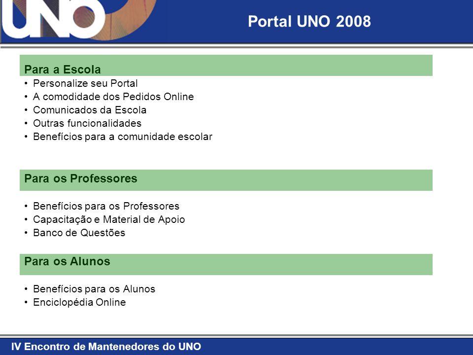 Portal UNO 2008 Para a Escola Para os Professores Para os Alunos