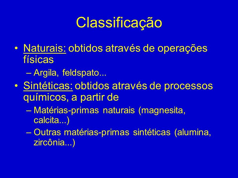 Classificação Naturais: obtidos através de operações físicas