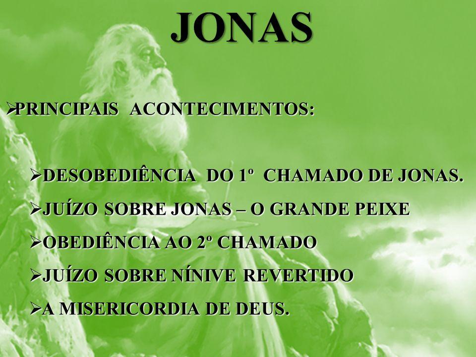 JONAS PRINCIPAIS ACONTECIMENTOS: DESOBEDIÊNCIA DO 1º CHAMADO DE JONAS.