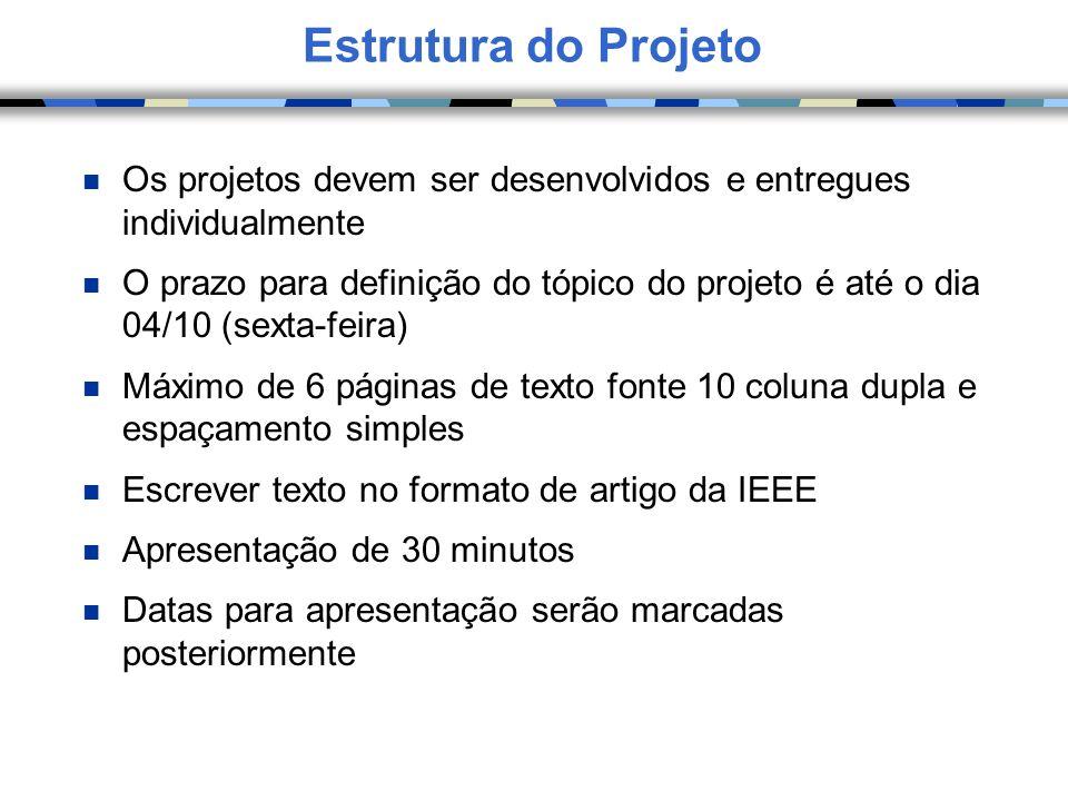 Estrutura do ProjetoOs projetos devem ser desenvolvidos e entregues individualmente.