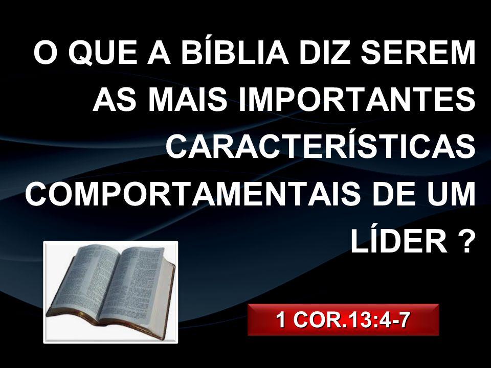 O QUE A BÍBLIA DIZ SEREM AS MAIS IMPORTANTES CARACTERÍSTICAS COMPORTAMENTAIS DE UM LÍDER