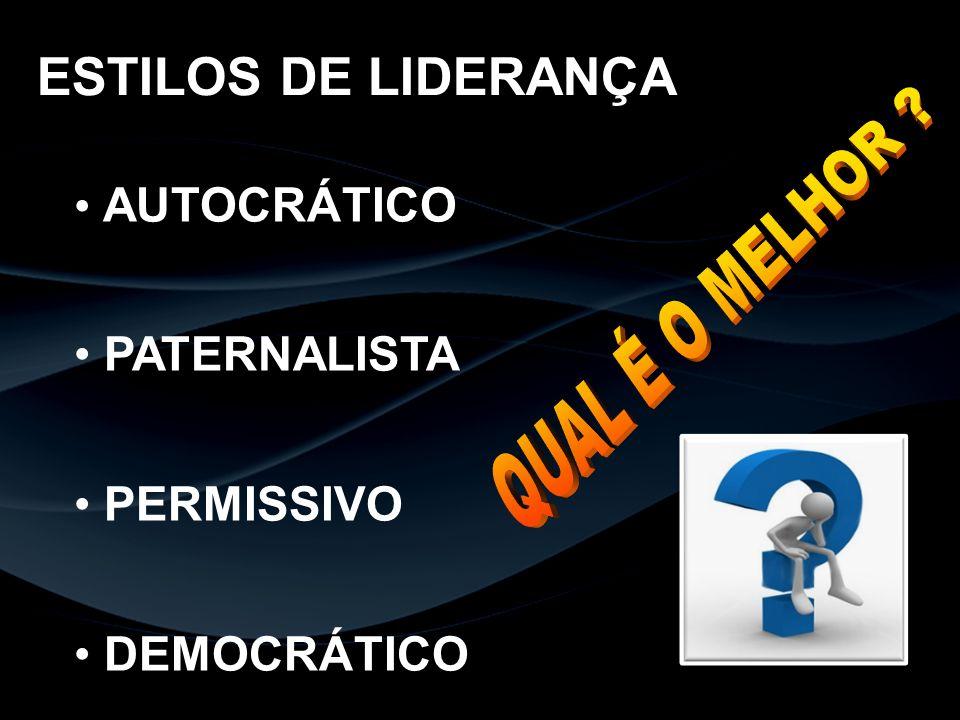 ESTILOS DE LIDERANÇA AUTOCRÁTICO PATERNALISTA PERMISSIVO DEMOCRÁTICO