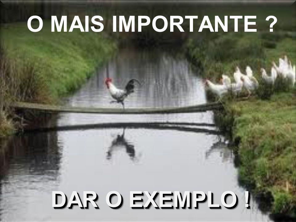 O MAIS IMPORTANTE DAR O EXEMPLO !