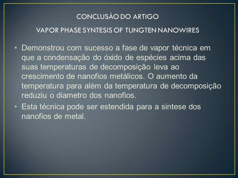 VAPOR PHASE SYNTESIS OF TUNGTEN NANOWIRES