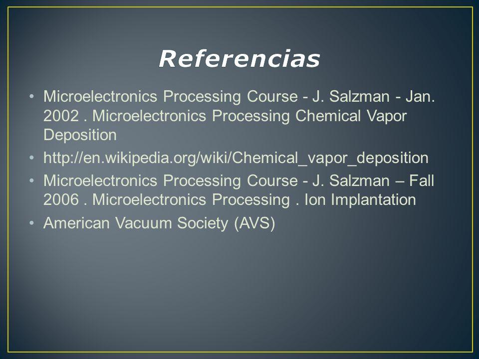 Referencias Microelectronics Processing Course - J. Salzman - Jan. 2002 . Microelectronics Processing Chemical Vapor Deposition.