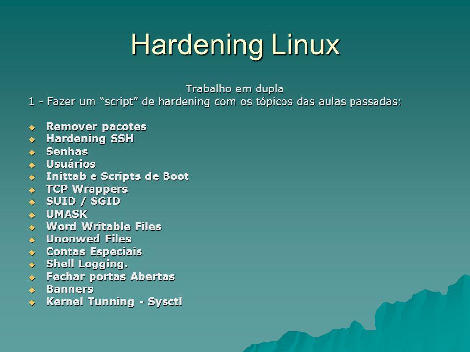 Hardening Linux Trabalho em dupla