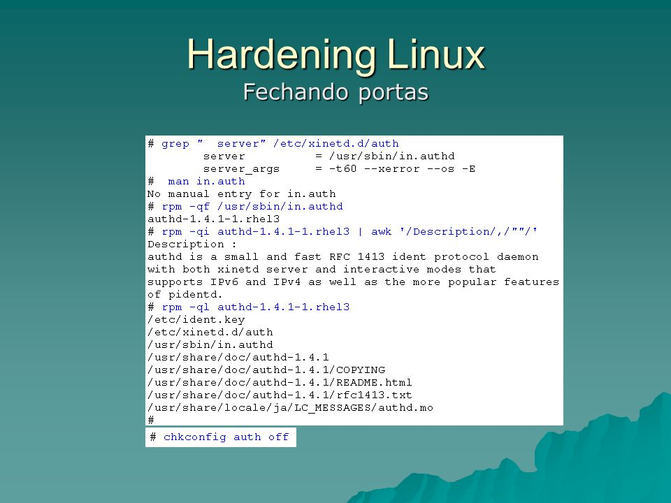 Hardening Linux Fechando portas